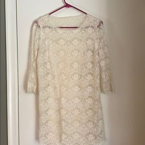 Off-white lace dress with slip attached